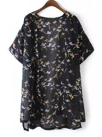Discount Plus Size Bird Print High Low Hem Kimono