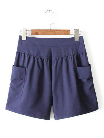 Buy Casual Plus Size Pockets Design Wide Leg Shorts - Cadetblue 3XL