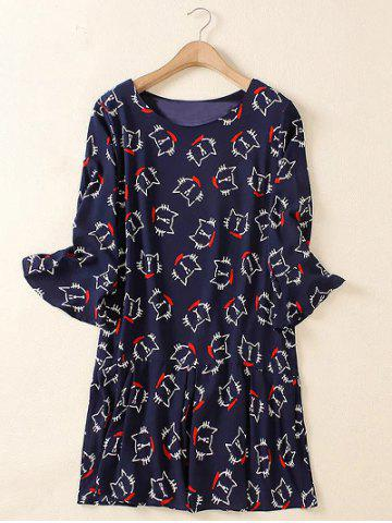 Chic Plus Size Flare Sleeve Animal Kitten Print Mini Dress - 2XL PURPLISH BLUE Mobile