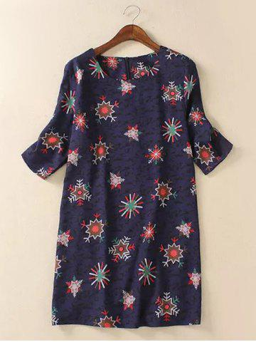 Store Trendy Plus Size Snowflake Print Spliced Dress - 2XL COLORMIX Mobile