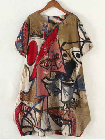 Affordable Retro Plus Size Abstract Pattern Baggy Dress - 2XL RED Mobile
