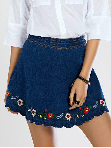 Chic Stylish Scalloped Floral Embroidered Women's Denim Skirt