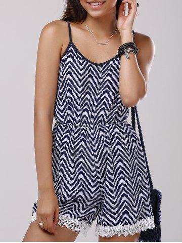 Outfit Lace Splicing Zigzag Pattern Cami Romper PURPLISHBLUE + WHITE S