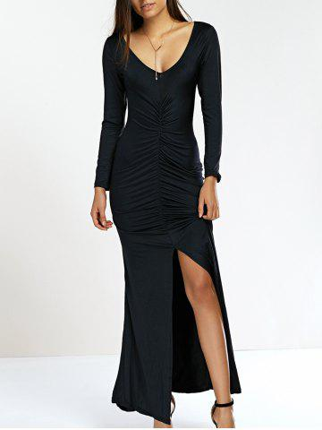 Outfits Plunge Neck High Slit Sheath Mermaid Dress
