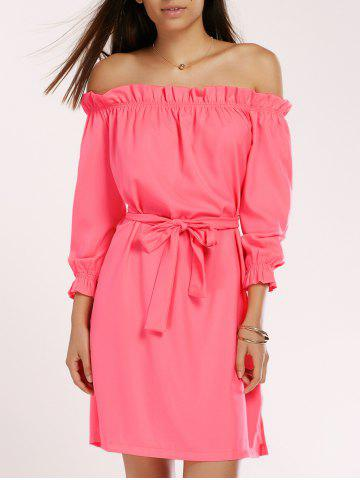 Discount Off The Shoulder Ruffled Belted Neon Dress