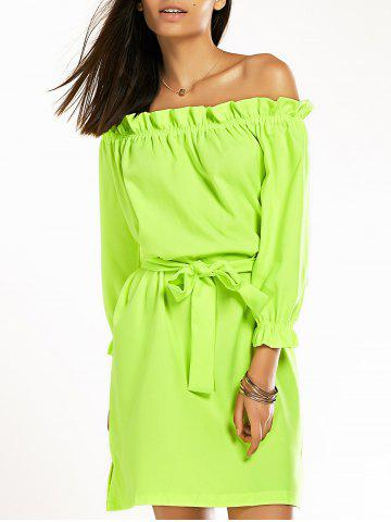 XL NEON GREEN Off The Shoulder Ruffled Belted Neon Dress