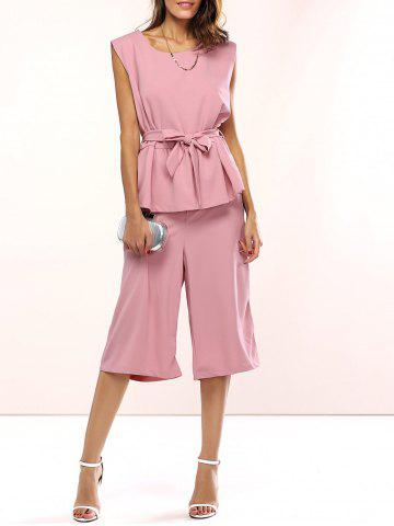 New Belted Peplum Top and Palazzo Pants LIGHT PINK XL