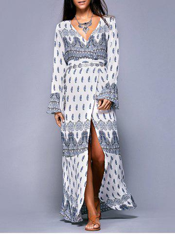 Trendy Bohemian Long Sleeves Printed Wrap Dress For Women