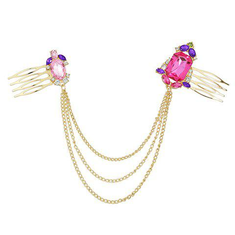 Best Vintage Rhinestone Chains Hair Comb For Women - GOLDEN  Mobile