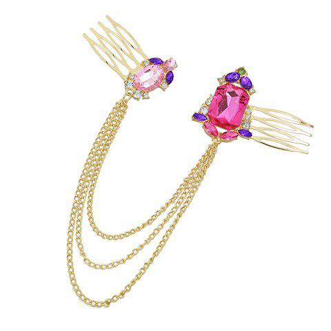 Cheap Vintage Rhinestone Chains Hair Comb For Women - GOLDEN  Mobile