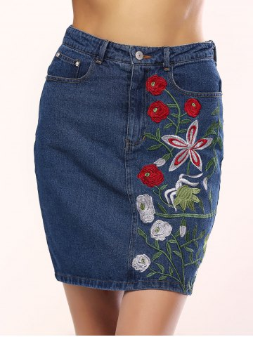 Cheap Chic Women's Floral Embroidery Denim Skirt