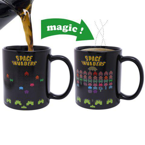 Cheap Amazing Space Invader Game Pattern Ceramic Heat Sensitive DIY Color Changing Mug For Gifts - BLACK  Mobile