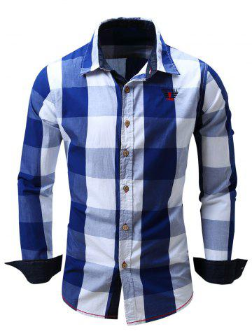 Online Turn-Down Collar Plaid Pattern Long Sleeve Shirt For Men