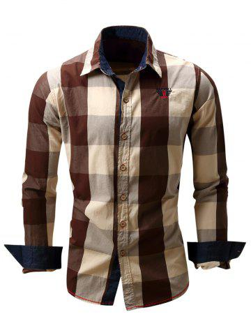 Turn-Down Collar Plaid Pattern Long Sleeve Shirt For Men - Coffee - M