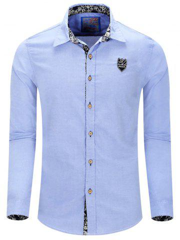 Unique Turn-Down Collar Embroidery Long Sleeve Shirt For Men