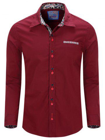 New Turn-Down Collar Double Button Design Long Sleeve Shirt For Men WINE RED 2XL