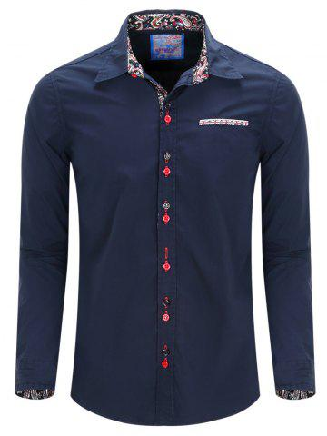Turn-Down Collar Double Button Design Long Sleeve Shirt For Men - Purplish Blue - M