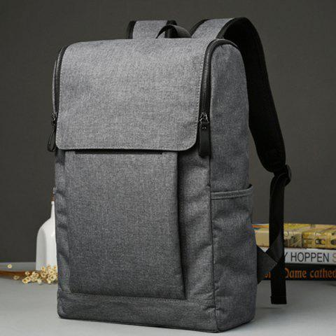Shop Casual Double Zips and Solid Color Design Backpack For Men - DEEP GRAY  Mobile