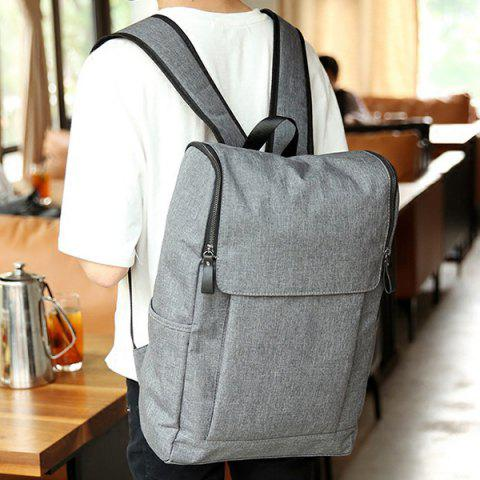 Fancy Casual Double Zips and Solid Color Design Backpack For Men - DEEP GRAY  Mobile