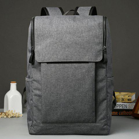 Store Casual Double Zips and Solid Color Design Backpack For Men - DEEP GRAY  Mobile