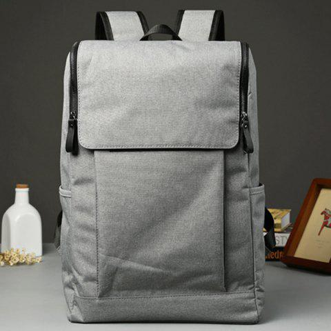 Shop Casual Double Zips and Solid Color Design Backpack For Men - LIGHT GRAY  Mobile