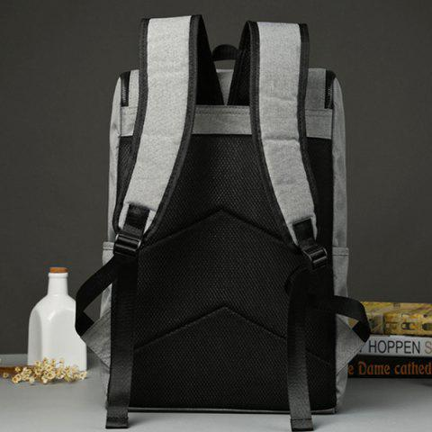Chic Casual Double Zips and Solid Color Design Backpack For Men - LIGHT GRAY  Mobile