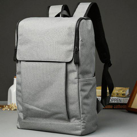 Hot Casual Double Zips and Solid Color Design Backpack For Men - LIGHT GRAY  Mobile