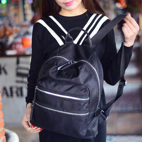 Outfit Fashion Nylon and Zip Design Satchel For Women - BLACK  Mobile