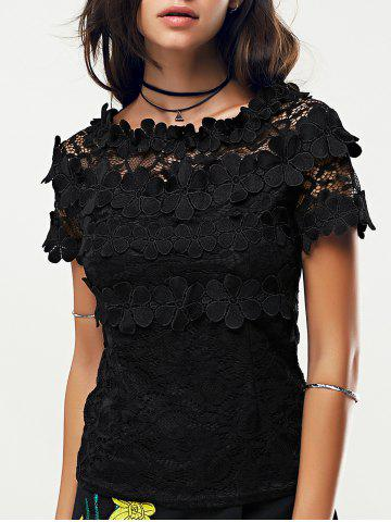 Hot Black Short Sleeve Lace Blouse