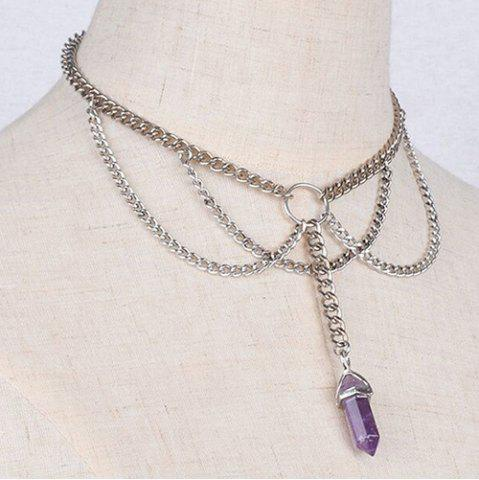Store Stylish Silver Plated Multilayered Link Chain Faux Amethyst Choker For Women SILVER