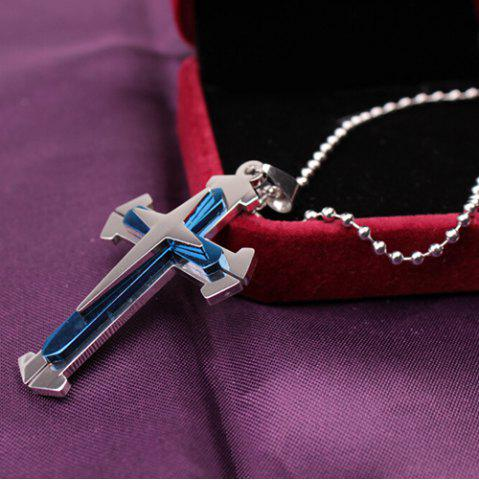 Online Cross Stainless Steel Pendant Necklace BLUE