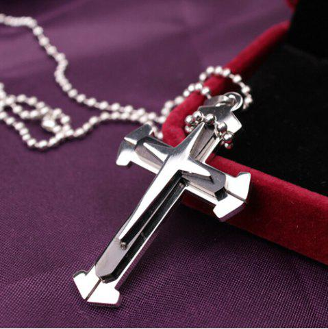 Cross Stainless Steel Pendant Necklace - Black