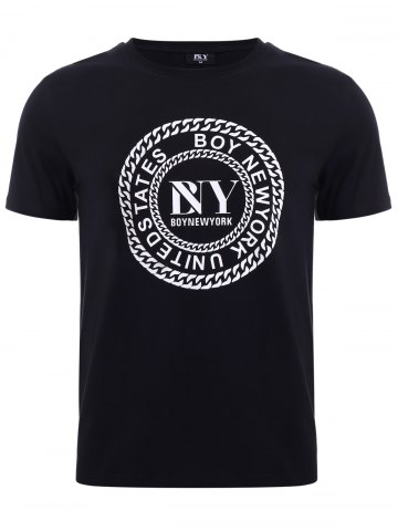 BoyNewYork Letters Chain Pattern Solid Color T-Shirt - Black - S