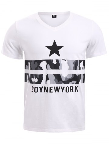 Latest BoyNewYork Letters Star Camo Pattern T-Shirt