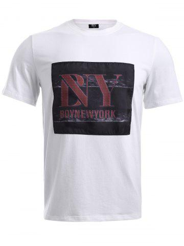 Outfit BoyNewYork Letters Applique T-Shirt WHITE XL