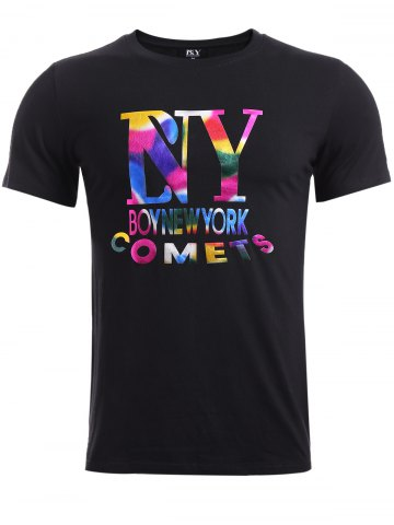 Outfit BoyNewYork Colorful Letters Pattern T-Shirt - S BLACK Mobile