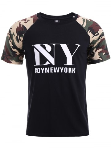 Chic BoyNewYork Letters Print Camo Spliced T-Shirt BLACK XL