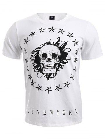 Unique BoyNewYork Skulls Star Pattern T-Shirt