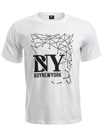 Cheap BoyNewYork Geometric Pattern Short Sleeves T-Shirt WHITE XL