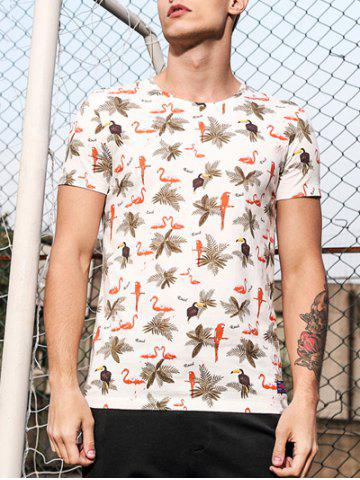 Outfits Round Neck 3D Leaves and Animal Print Short Sleeve T-Shirt For Men