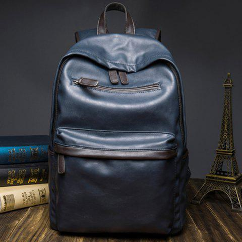 Fancy Casual Dark Color and PU Leather Design Backpack For Men - BLUE  Mobile