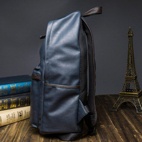 Shop Casual Dark Color and PU Leather Design Backpack For Men - BLUE  Mobile