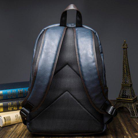 Store Casual Dark Color and PU Leather Design Backpack For Men - BLUE  Mobile