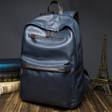 Affordable Casual Dark Color and PU Leather Design Backpack For Men - BLUE  Mobile