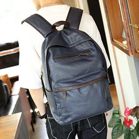 Cheap Casual Dark Color and PU Leather Design Backpack For Men BLUE
