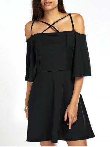 Online Stylish Spaghetti Straps Black Dress For Women BLACK XL