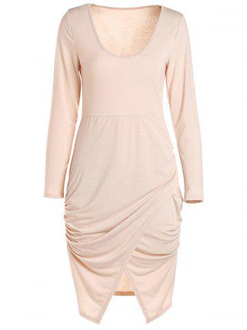 Scoop Neck manches longues Crossover Hem Robe moulante ROSE PÂLE S