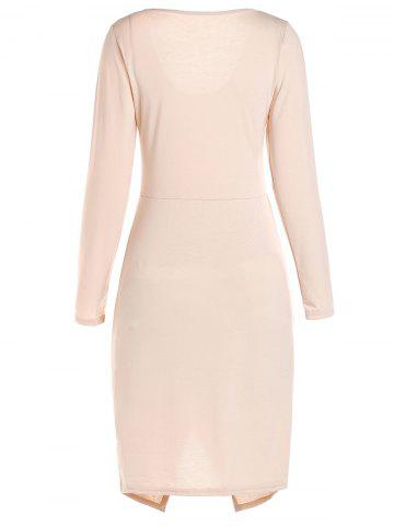 Shops Long Sleeve Crossover Hem Bodycon Bandage Dress - L PINK Mobile