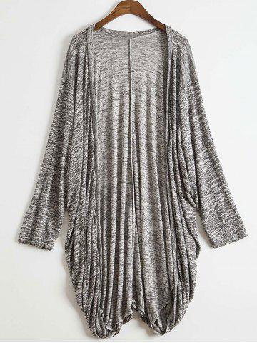 Stylish Open Front Batwing Sleeve Loose-Fitting Women's Long Cardigan - Gray - M