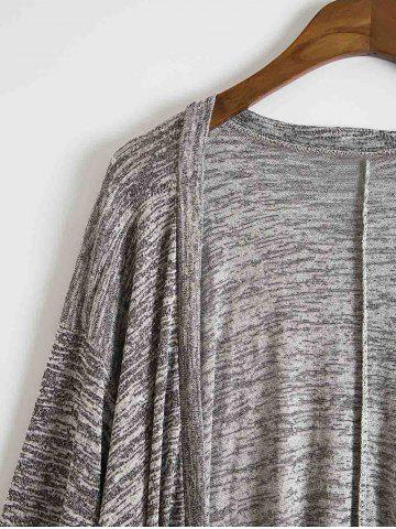 Chic Stylish Open Front Batwing Sleeve Loose-Fitting Women's Long Cardigan - M GRAY Mobile